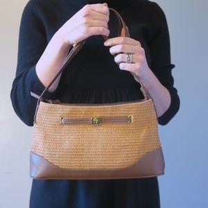 Etienne Aigner Jute & Leather Shoulder Bag